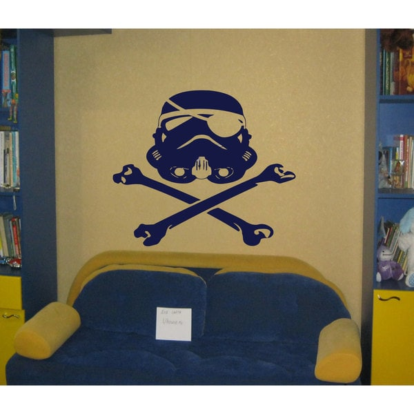 Skull and Bones Storm Trooper Star Wars Blue Vinyl Sticker Wall Art