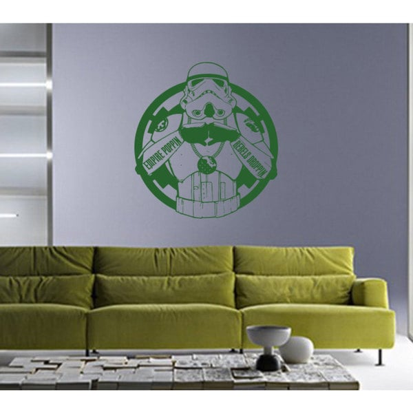Storm Trooper Inside Empire Logo Star Wars White Green Vinyl Sticker Wall Art