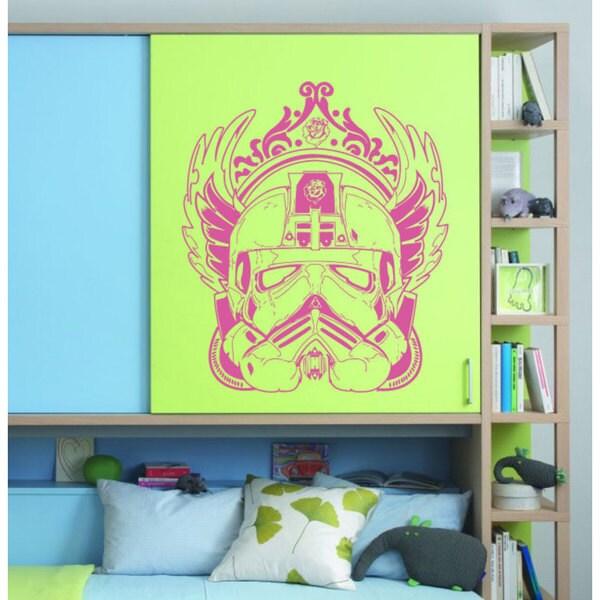 Stylish Storm Trooper Helmet Star Wars Hot Pink Vinyl Sticker Wall Art