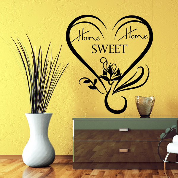Swirly Heart Home Sweet Home Quote Vinyl Sticker Wall Art