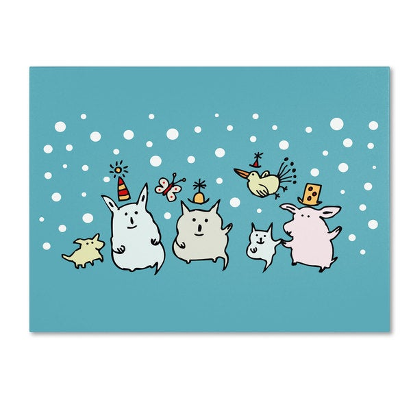 Carla Martell 'Christmas Creatures in Blue' Canvas Art