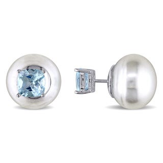 Miadora Sterling Silver Freshwater Pearl and Blue Topaz Stud Earrings
