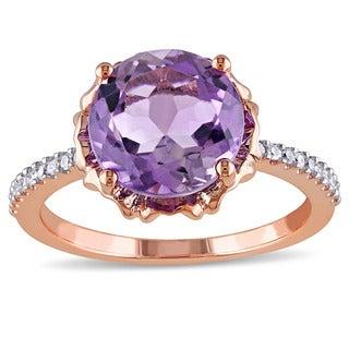Miadora 10k Rose Gold Amethyst and 1/10ct TDW Diamond Ring (G-H,I2-I3)