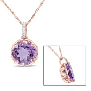 Miadora 10k Rose gold Amethyst and Diamond Accent Necklace