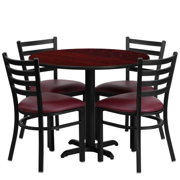 36-inch Round Mahogany Laminate Table Set with Four (4) Burgundy Vinyl Seat Ladder Back Metal Chairs 15984174