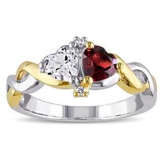 Miadora Two-tone Silver Multi-gemstone and Diamond Accent Heart Ring