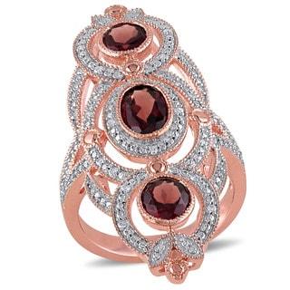 Miadora Rose Plated Silver Garnet and 1/10ct TDW Diamond Ring (G-H, I1-I2)