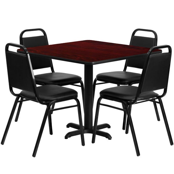 36-inch Square Mahogany Laminate Table Set with Four (4) Black Trapezoidal Back Banquet Chairs 15984233