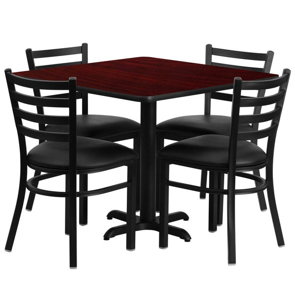 36-inch Square Mahogany Laminate Table Set with Four (4) Black Vinyl Seat Ladder Back Metal Chairs 15984263