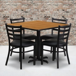 36-inch Square Natural Laminate Table Set with Four (4) Black Vinyl Seat Ladder Back Metal Chairs
