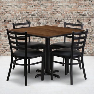36-inch Square Walnut Laminate Table Set with Four (4) Black Vinyl Seat Ladder Back Metal Chairs