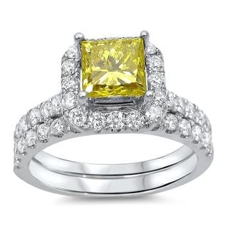 Noori 18k Gold 2ct TDW Canary Yellow Diamond Engagement Bridal Set (G-H, SI1-SI2)