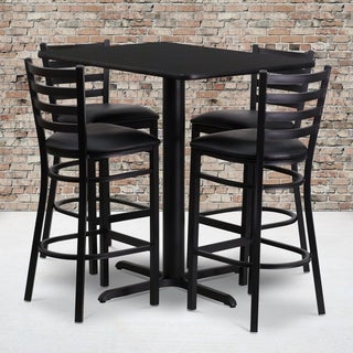 24w x 42l Rectangular Black Laminate Table Set with Four (4) Black Vinyl Seat Ladder Back Metal Bar Stools
