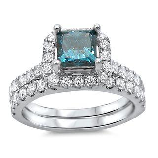 Noori 18k Gold 1 3/5ct TDW Blue Diamond Enhanced Bridal Set (G-H, SI1-SI2)