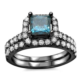 Noori 18k Black Plated 1 3/5ct TDW Blue Diamond Enhanced Bridal Set (G-H, SI1-SI2)