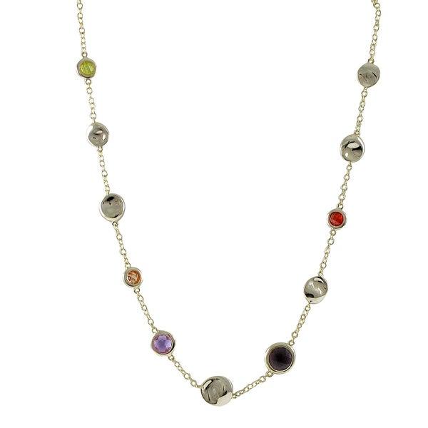 Gold Finish Multi-color Cubic Zirconia Necklace
