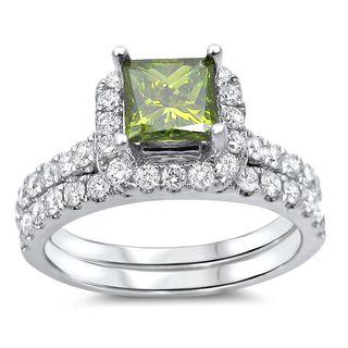 Noori 18k Gold 1 3/5ct TDW Green Diamond Enhanced Bridal Set (G-H, SI1-SI2)