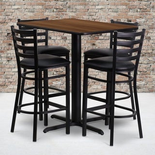 24w x 42l Rectangular Walnut Laminate Table Set with Four (4) Black Vinyl Seat Ladder Back Metal Bar Stools
