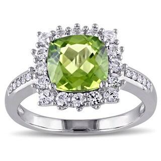 Miadora Sterling Silver Multi-gemstone and Diamond Accent Ring