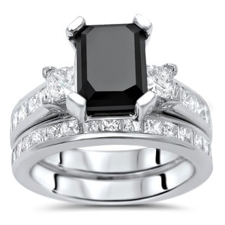 Noori 14k White Gold 4 1/10ct TDW Black Emerald Cut Diamond Bridal Ring Set (G-H, VVS1-VVS2)