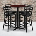30-inch Round Mahogany Laminate Table Set with Four (4) Black Vinyl Seat Ladder Back Metal Bar Stools
