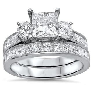 Noori 14k Gold 2 3/4ct TDW Princess-cut 3-stone Diamond Bridal Set (G-H, SI1-SI2)
