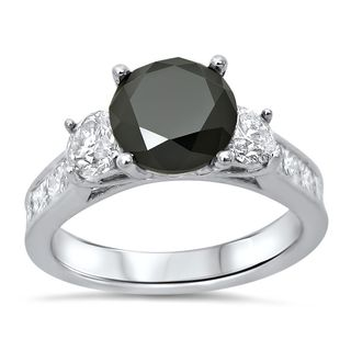 Noori 14k Gold 2 1/2ct TDW Black Diamond 3-stone Ring