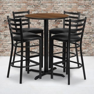 30-inch Round Walnut Laminate Table Set with Four (4) Black Vinyl Seat Ladder Back Metal Bar Stools
