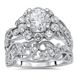 Noori 14k White Gold Moissanite and 1ct TDW Flower Diamond Engagement Ring Set (G-H, SI1-SI2)