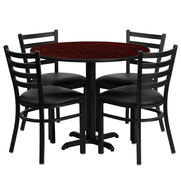 36-inch Round Mahogany Laminate Table Set with Four (4) Black Vinyl Seat Ladder Back Metal Chairs 15984553