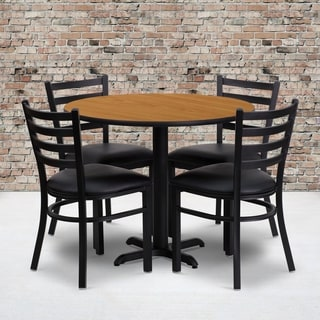 36-inch Round Natural Laminate Table Set with Four (4) Black Vinyl Seat Ladder Back Metal Chairs