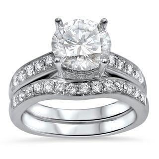 Noori 14k White Gold Moissanite and 1/2ct TDW Diamond Engagement Ring Set (G-H, SI1-SI2)