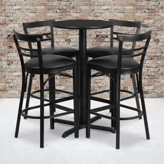 24-inch Round Black Laminate Table Set with Four (4) Black Vinyl Seat Ladder Back Metal Bar Stools