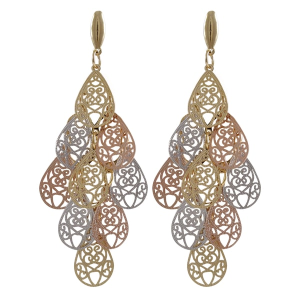 Tri-color Gold Finish Filigree Teardrop Chandelier Dangle Earrings