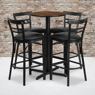 24-inch Round Walnut Laminate Table Set with Four (4) Black Vinyl Seat Ladder Back Metal Bar Stools