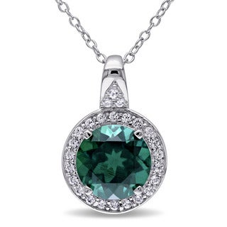 Miadora Sterling Silver Created Emerald and Created White Sapphire Halo Necklace