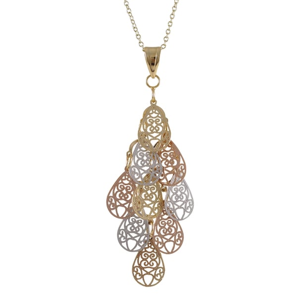 Tri-color Gold Finish Filigree Teardrop Chandelier Pendant Necklace