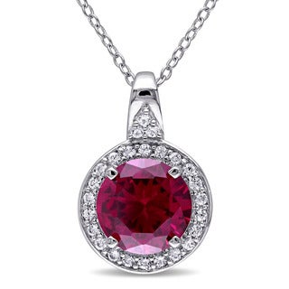 Miadora Sterling Silver Created Ruby and Created White Sapphire Necklace