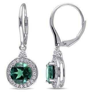 Miadora Sterling Silver Created Emerald and Created White Sapphire Earrings