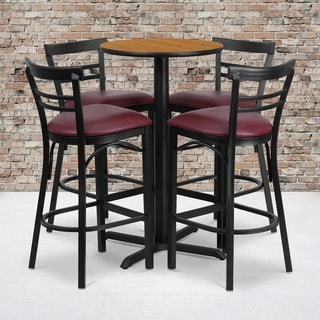 24-inch Round Natural Laminate Table Set with Four (4) Burgundy Vinyl Seat Ladder Back Metal Bar Stools