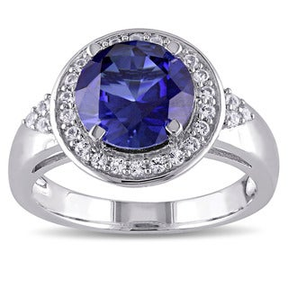 Miadora Sterling Silver Created Blue and White Sapphire Halo Ring