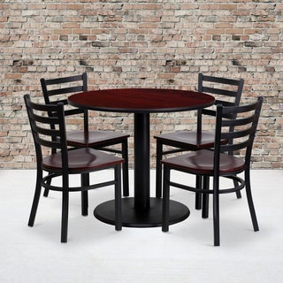 36-inch Round Mahogany Laminate Table Set with Four (4) Mahogany Wood Seat Ladder Back Metal Chairs