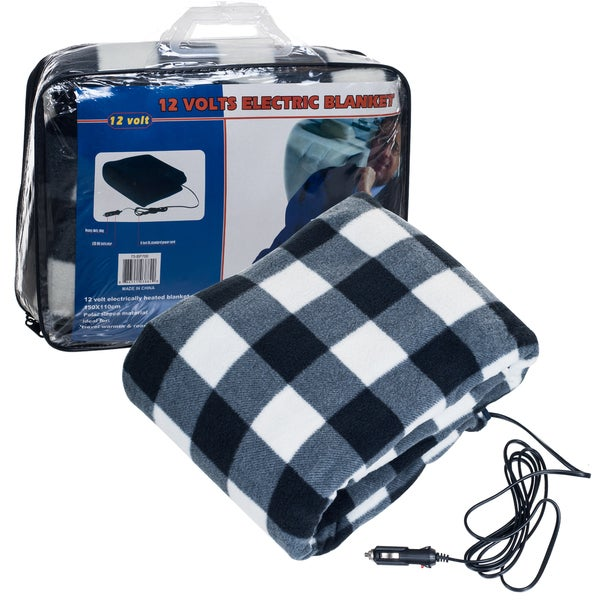 Stalwart 12 Volt Plaid Electric Blanket for Auto and Home