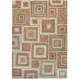 Couristan Graphite Contrasting Squares/ Ivory-rose Rug (9' x 13')