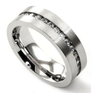 James Cavolini Stainless Steel and Cubic Zirconia Thin Band Men's Ring