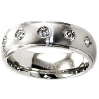 James Cavolini Stainless Steel and Cubic Zirconia Thin Sleek Band Ring