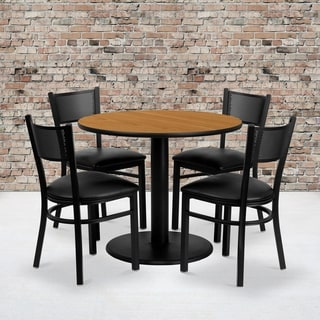 36-inch Round Natural Laminate Table Set with Four (4) Black Vinyl Seat Grid Back Metal Chairs
