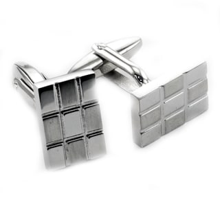 James Cavolini Stainless Steel Checkered Rectangle Cuff Links