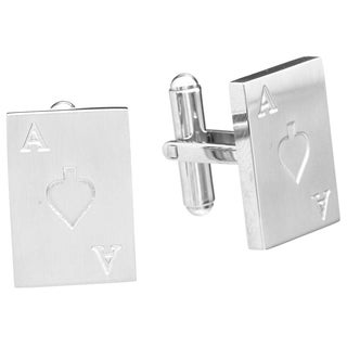James Cavolini Stainless Steel Ace of Spades Cuff Links