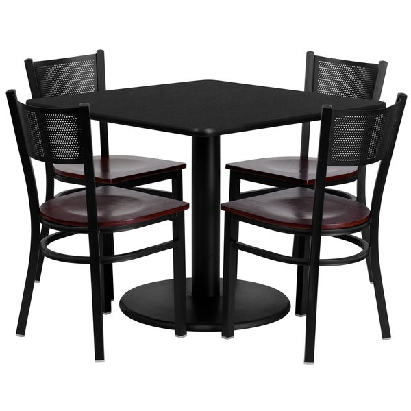 36-inch Square Black Laminate Table Set with Four (4) Mahogany Wood Seat Grid Back Metal Chairs 15985058